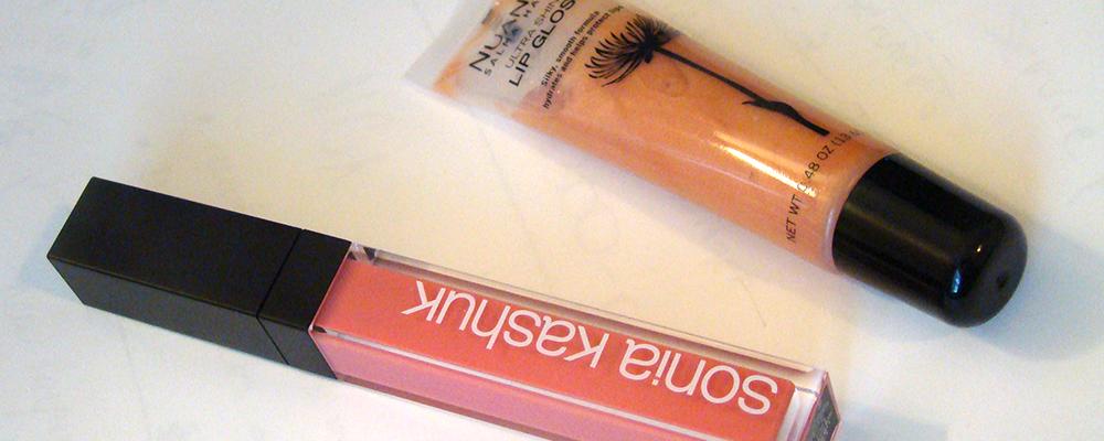 salma hayek nuance lip gloss and sonia kashuk ultra luxe lip gloss
