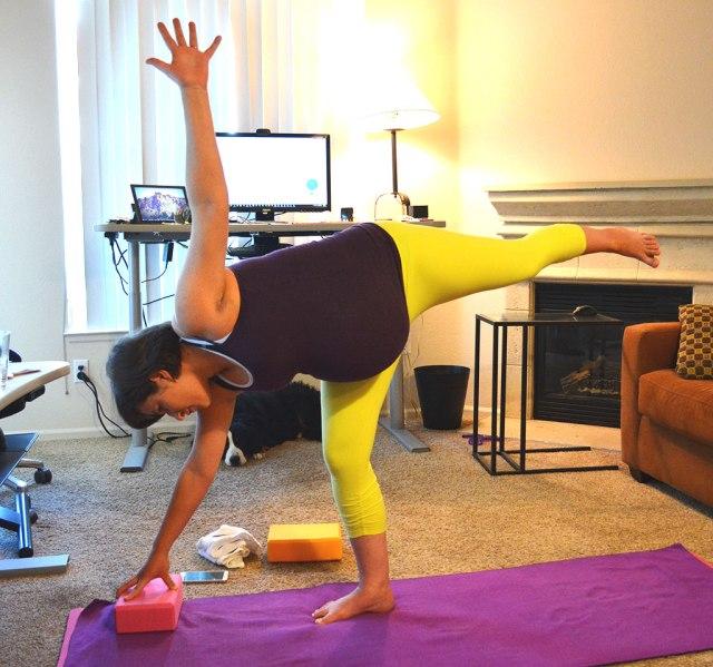 standing half moon prenatal yoga